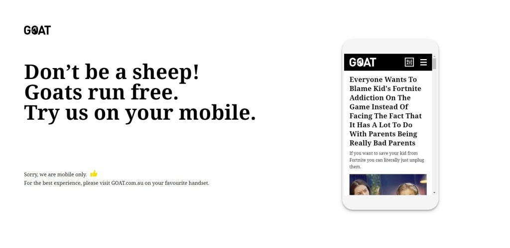 The mobile-only website that blocks desktop users